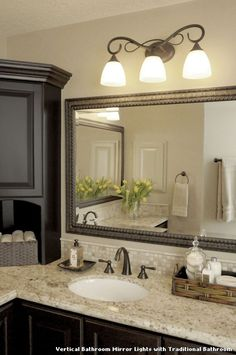Vertical Bathroom Mirror Lights With Traditional Kitchen Lighting From
