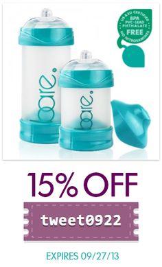 "Take 15% off Bare® air-free #babybottles. Use #coupon code ""tweet0922"" http://bittylab.com/shop. Exp 09/27/13"