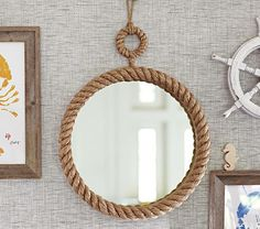 Shop nautical rope mirror from Pottery Barn Kids. Find expertly crafted kids and baby furniture, decor and accessories, including a variety of nautical rope mirror. Round Mirror With Rope, Rope Mirror, Diy Mirror, Mirror Bay, Rope Decor, Beach Wall Decor, Beach House Decor, Kids Mirrors, Unique Mirrors