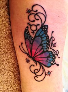 Colorful Butterfly Tattoo on Side tattoo Butterfly With Flowers Tattoo, Butterfly Tattoo Cover Up, Butterfly Tattoo Meaning, Butterfly Tattoo On Shoulder, Butterfly Tattoos For Women, Butterfly Tattoo Designs, Butterflies, Pink Butterfly, Semicolon Butterfly Tattoo