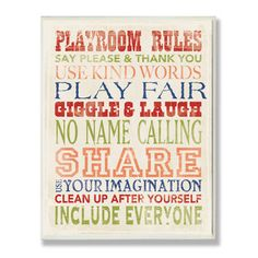 The Kids Room Playroom Rules Typography Wall Plaque