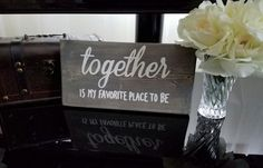 Together is my favorite place to be - stained wood sign - Love decor - love sign - rustic decor - wedding gift - romantic decor - home decor by PenelopesLace on Etsy