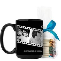 Filmstrip Fun Mug, Black, with Ghirardelli Assorted Squares, 15 oz, Black