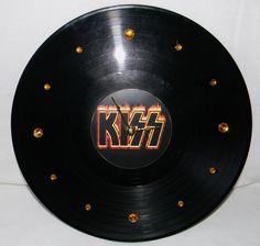 KISS Flaming Logo Vinyl Record Wall Clock by PandorasCreations, $25.00