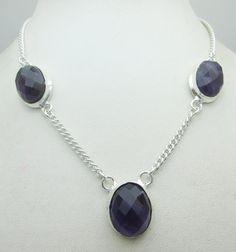 Silver Tone Metal Amethyst Stone Gemstone Statement Necklace Jewelry Fine Quality NK_228 25 GM ready to ship