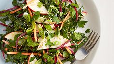 Recipe for Mache Salad with Pear, Goat Cheese, Beets and Walnuts, as seen in the December 2005 issue of 'O, The Oprah Magazine.'