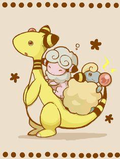 Flaaffy and ampharos. (via TEGAKI Blog - - 結璃's Blog)