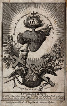 Sacred Heart illustration, featuring the symbolism of the pelican, which supposedly pierces itself to let it's young drink. Religious Images, Religious Art, Jesus And Mary Pictures, Divine Mercy Chaplet, Vintage Holy Cards, Esoteric Art, Heart Illustration, Occult Art, Heart Of Jesus
