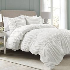 Lush Decor sells a variety of feminine frilly ruched and ruffled comforter sets, such as the Darla 3 Piece Comforter Set online. To browse our selection, head over to our website today! Ruffle Comforter, Queen Comforter Sets, Bedding Sets, White Comforter Bedroom, Grey And White Comforter, Lace Bedding, Blue Bedroom, King Duvet, Lush