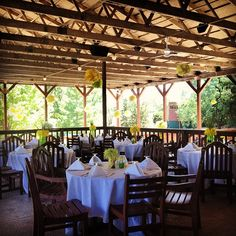 "Eagle Pointe Golf Resort all dressed up for a reception!    @katiejgross's photo: ""Just another day at work! #wedding #reception #job #summer #terrace #yellow #green #eaglepointe #bloomington #indiana"""