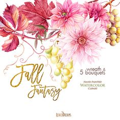 Dahlias Watercolor Fall Wreath & Bouquets clipart by ReachDreams