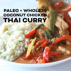 Paleo + Coconut Chicken Thai Curry Recipe + Video – a flavorful & healthy keto chicken and vegetable thai curry recipe. Ready in under 30 minutes! Your whole family will love this comforting gluten free, dairy free, sugar free dinner. Paleo Dinner, Healthy Dinner Recipes, Real Food Recipes, Diet Recipes, Chicken Recipes, Keto Chicken, Paleo Food, Diabetic Recipes, Sugar Free Recipes Dinner