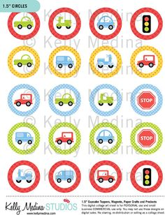 "Cars, Trucks, Scooters 2 - 1.5"" Circle Digital Collage Sheet - Commercial use for Cupcake Toppers, Magnets, Paper Crafts and Products"