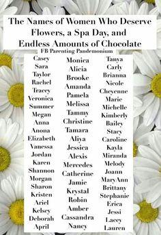 Name List, Spa Day, Veronica, Amanda, Parenting, Names, Sayings, Lyrics, Childcare