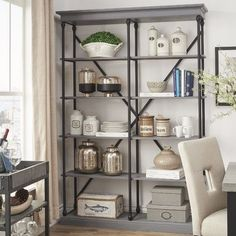 HomeSullivan Manor Drive Grey Open Bookcase at The Home Depot - Mobile Large Bookcase, Open Bookcase, Etagere Bookcase, Bookcase Shelves, Bookcases, Kitchen Bookcase, Glass Shelves, Coastal Living Rooms, Home And Living