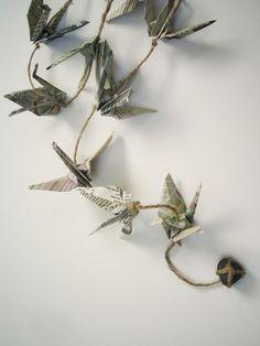 origami newspaper crane garland
