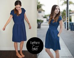 resizing an oversized, side-zippered dress