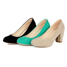 Soft Suede Low-Heel Women's Pumps 3 Colors