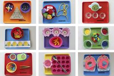 tot trays- mini activities for kids. more fun stuff on playinghouseinmaryland.blogspot.com