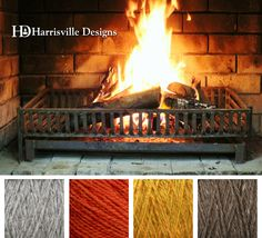 Fireplace color palette using Harrisville Designs SHETLAND yarn: Silvermist, Poppy, Mustard, and Toffee.