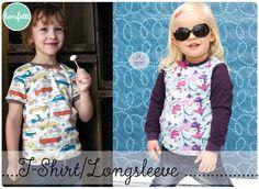 Nähanleitung und Schnitt für ein Kinder-Longsleeve oder T-Shirt in den Größen 92-164  Ein absolutes Basic-Shirt! Das Longsleeve ist ein schnell genähtes, einfaches Shirt mit langen oder kurzen...