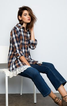 Happy Camper Plaid and Lace Flannel