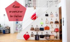 hang handbags on the wall like art Purse Storage, Shelf Dividers, Stow Away, Closet Bedroom, Diy Hacks, Closet Organization, How To Run Longer, Photo Wall, Frame
