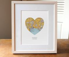 Long Beach California Heart Map Print, Long Beach Art Print, California Map Art, Custom City Print