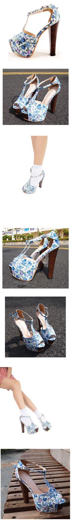 #Udobuy Blue Vintage Flower Pattern Cotton Chunky Heel Shoe$92