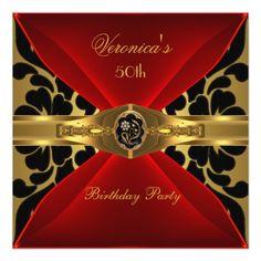 50th Birthday Red Gold Black Damask Floral Jewel Custom Invites