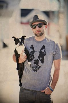 Men Boston Terrier Heather Grey Graphic Shirt Available in S-M-L-XL-2XL Free Shipping. $20.00, via Etsy.
