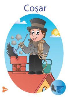 Ilustrații cu meserii și ocupații Teaching Weather, Dinosaur Activities, Design Case, Teaching Materials, Montessori, Preschool, Clip Art, Cards, Fictional Characters