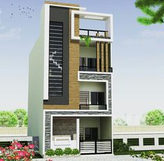 Best 12 Home Design Plan With 3 Bedrooms – Sam Phoas Homesearch – SkillOfKing. Narrow House Designs, Modern Small House Design, Latest House Designs, 3 Storey House Design, Duplex House Design, House Front Design, Front Elevation Designs, House Elevation, Building Elevation