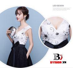 Đầm dạ hội cổ chữ V được thiết kiểu trễ vao theo phong cách búp bê vintage thật tao nhã và sang trọng. Thân áo màu trắng kết hợp với chân váy đen tạo nên vẻ đẹp