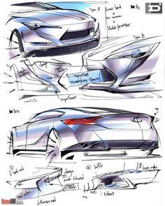 FT86 sketch. Toyota FT-86 concept design exterior sketches by Toyota Europe Design Development (ED2 studio).