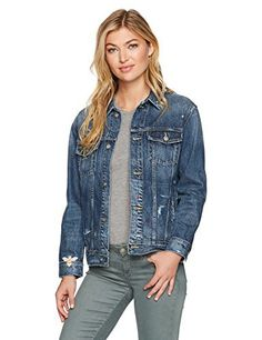 """Easy to wear relaxed fit denim jacket with a touch of feminine embroidery       Famous Words of Inspiration...""""Women need a reason to have sex -- men just need a place.""""   Billy Crystal — Click here for more from Billy...  More details at https://jackets-lovers.bestselleroutlets.com/ladies-coats-jackets-vests/denim-jackets/product-review-for-ag-adriano-goldschmied-womens-nancy-embroidered-jacket/"""