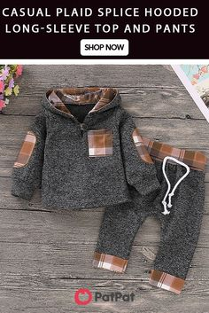 Casual Plaid Splice Hooded Long-sleeve Top and Pants Set for Baby * Front button * Comfy and stylish * Material: Cotton, Polyester * Machine wash, hang dry * Include: 1 top, 1 pants * Imported Baby Outfits Newborn, Toddler Outfits, Baby Boy Outfits, Kids Outfits, Baby Boy Fashion, Kids Fashion, Baby Boy Shoes, Cute Baby Clothes, Little Girl Dresses