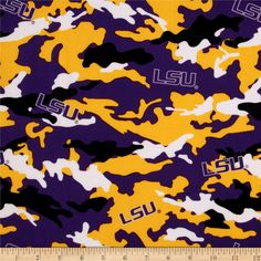Collegiate Cotton Broadcloth Louisiana State University Camouflage from @fabricdotcom  Cheer on Louisiana State University, your favorite team!  This cotton broadcloth is perfect for quilting, craft projects, apparel, decorating dorm rooms and home décor accents.  Colors include white, yellow, black and purple.