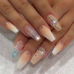Nail designs with rhinestones ombre nails pastel shiny polish and crystals Glam Nails, Hot Nails, Fancy Nails, Bling Nails, Hair And Nails, Jewel Nails, Sparkle Nails, Nude Nails, Stiletto Nails