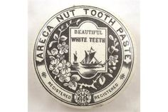 ARECA NUT TOOTHPASTE POT LID. 2.5ins diam, ARECA NUT TOOTHPASTE centre with sailing ships picture