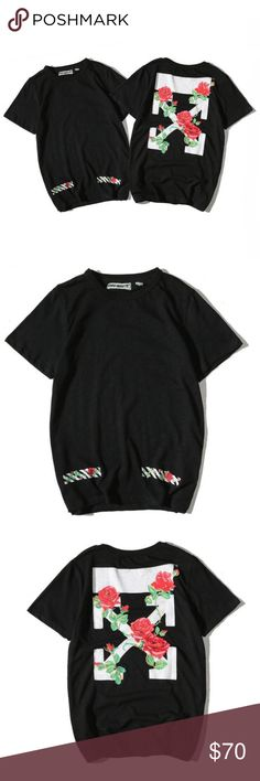 e63d3473c OFF WHITE Roses Tee's OFF-WHITE T-shirt. Made out of cotton with roses  imprints on the pocket side. Comes in two colors black or white.