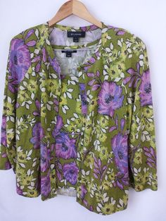 St John Collection Cardigan Large Twin set Floral  #StJohn #Twinset