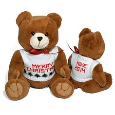 Personalized Christmas Holiday Teddy Bear. Cute to give to kids!