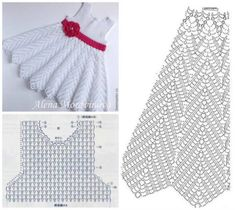 Beautiful Crochet Patterns and Knitting Patterns - Browse our thousands of free crochet patterns and knitting patterns. Crochet Baby Dress Pattern, Crochet Fabric, Crochet Diagram, Crochet Motif, Knitting Baby Girl, Baby Girl Crochet, Crochet Baby Clothes, Diy Crafts Dress, Diy Crafts Crochet