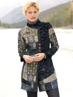 Women's Patchwork Blues Riding Jacket mixed fabrics: