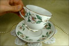 Beautiful White Wild Roses Porcelain Teacup by HappyGalsVintage