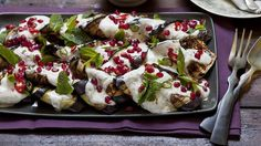Purple heart: Grilled eggplant with tahini and yoghurt dressing, pomegranate, chilli and mint.