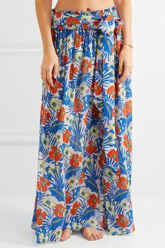 Etro - Printed Silk-seersucker Maxi Skirt - Azure - IT38