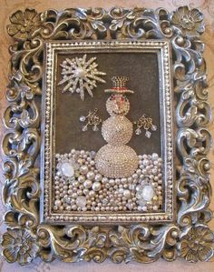 Vintage Jewelry OOAK Vintage Rhinestone Costume Jewelry repurposed Framed Snowman Collage Art via Etsy - Costume Jewelry Crafts, Vintage Jewelry Crafts, Antique Jewelry, Recycled Jewelry, Jewelry Frames, Jewelry Tree, Jewelry Ideas, Cheap Jewelry, Cheap Necklaces