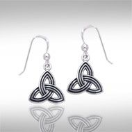 Celtic Knotwork Silver Triquetra Earrings TER131 - The Triquetra is an ancient Celtic symbol that speaks of the power of three in all things: earth, sea, and sky, birth, death, and rebirth, and the maiden, mother, and crone aspects of the Goddess, as well as past, present, and future.